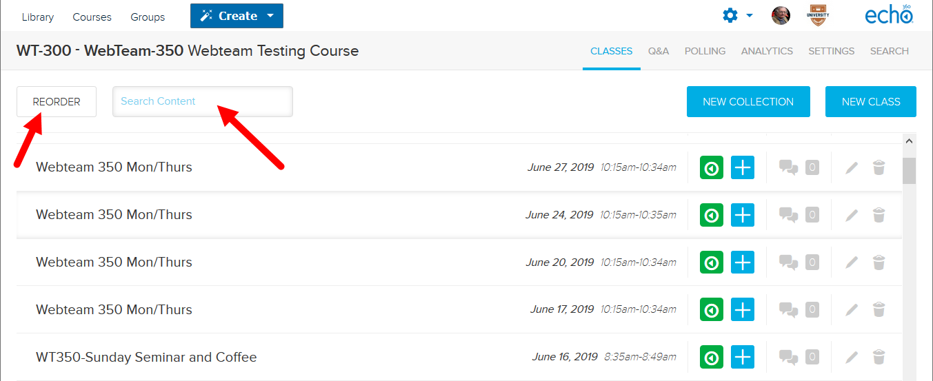 Instructor class list with search box and reorder button identified for actions as described