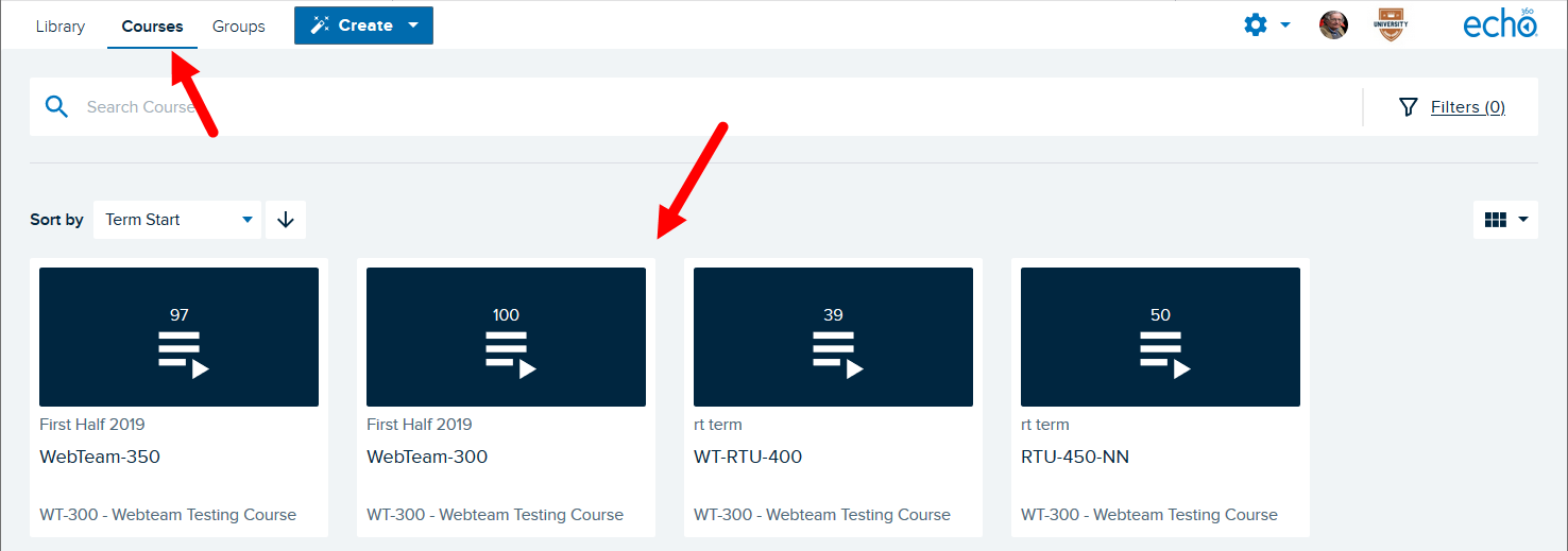 Echo courses page with courses listed for selection as described