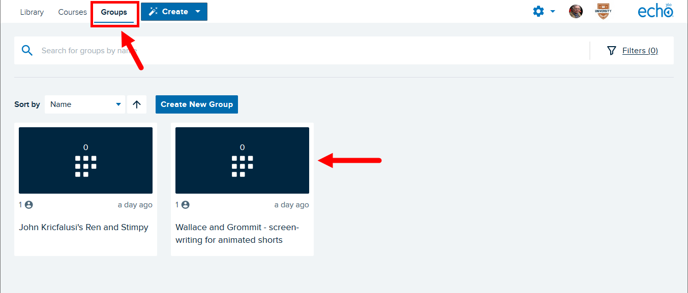 Echo360 Groups page with Groups option on top navigation identified and group tiles shown for steps as described