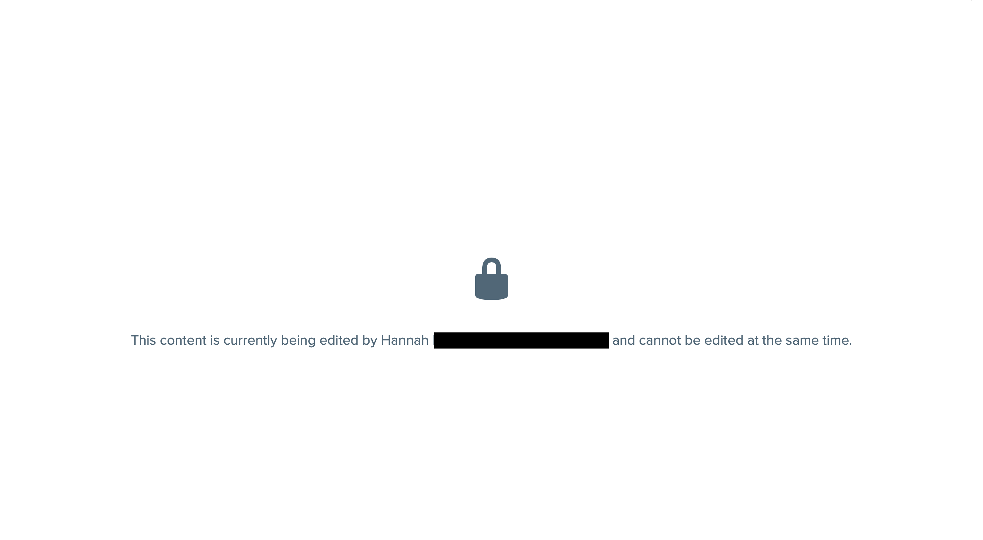 Message displayed when trying to access the editor if it is locked