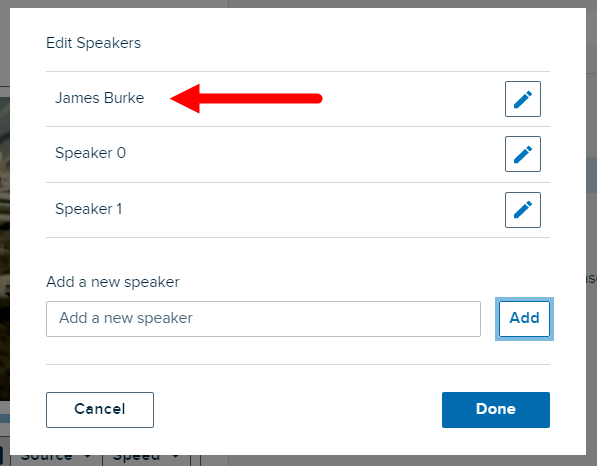 Edit speakers dialog box with new speaker identified in the speakers list as described