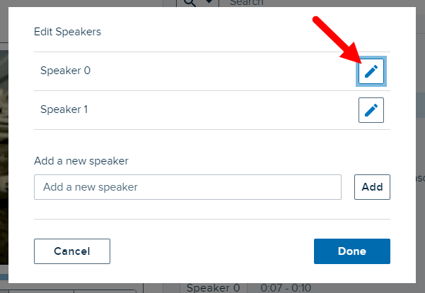 Edit Speakers list with edit button identified for editing or deleting speaker as described