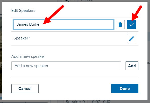 Edit speakers list with edit mode on and accept changes or delete speaker button shown