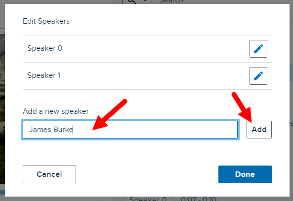 Edit speakers dialog box with add a new speaker text entered and Add button identified for steps as described