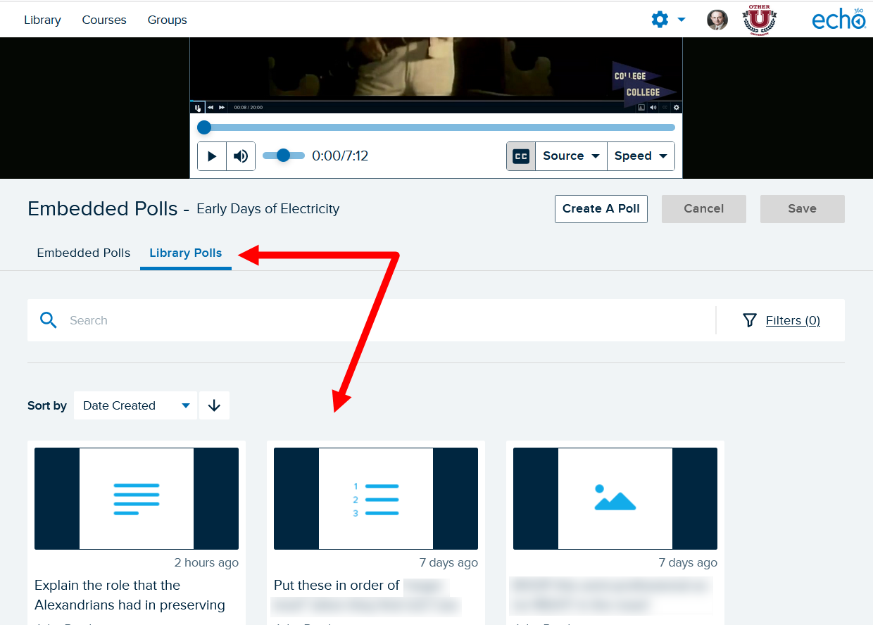 edit interactive media page with Library Polls tab shown and poll selection options identified for steps as described