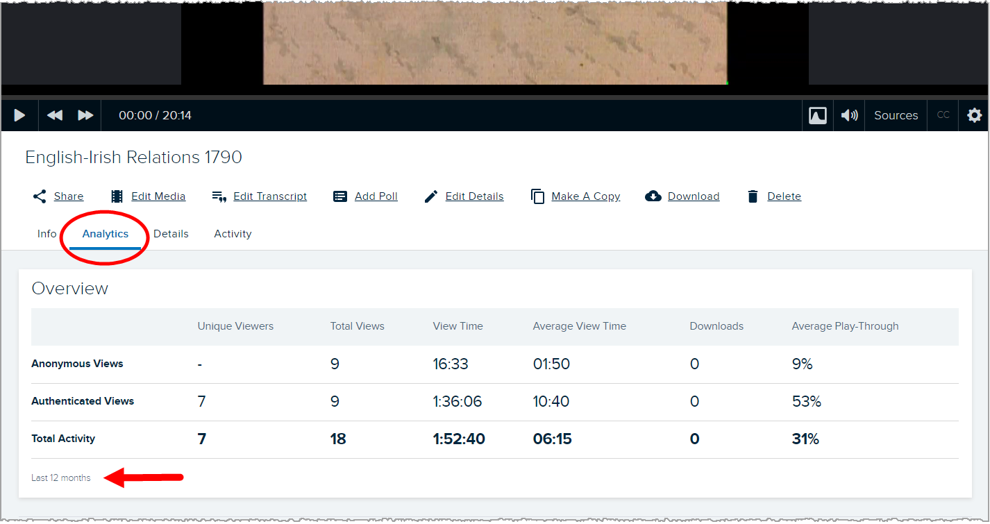 Media details analytics tab with overview section shown including view data as described