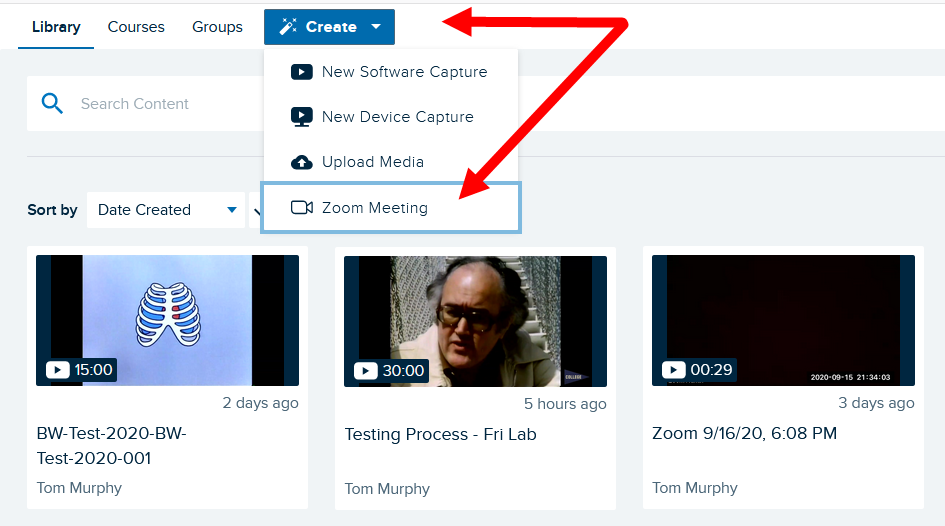 Create button menu open with Zoom Meeting option identified as described