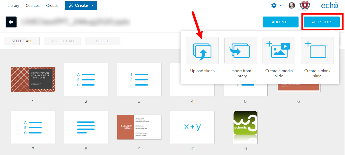 Edit presentation page with add slides menu open and upload slides option identified