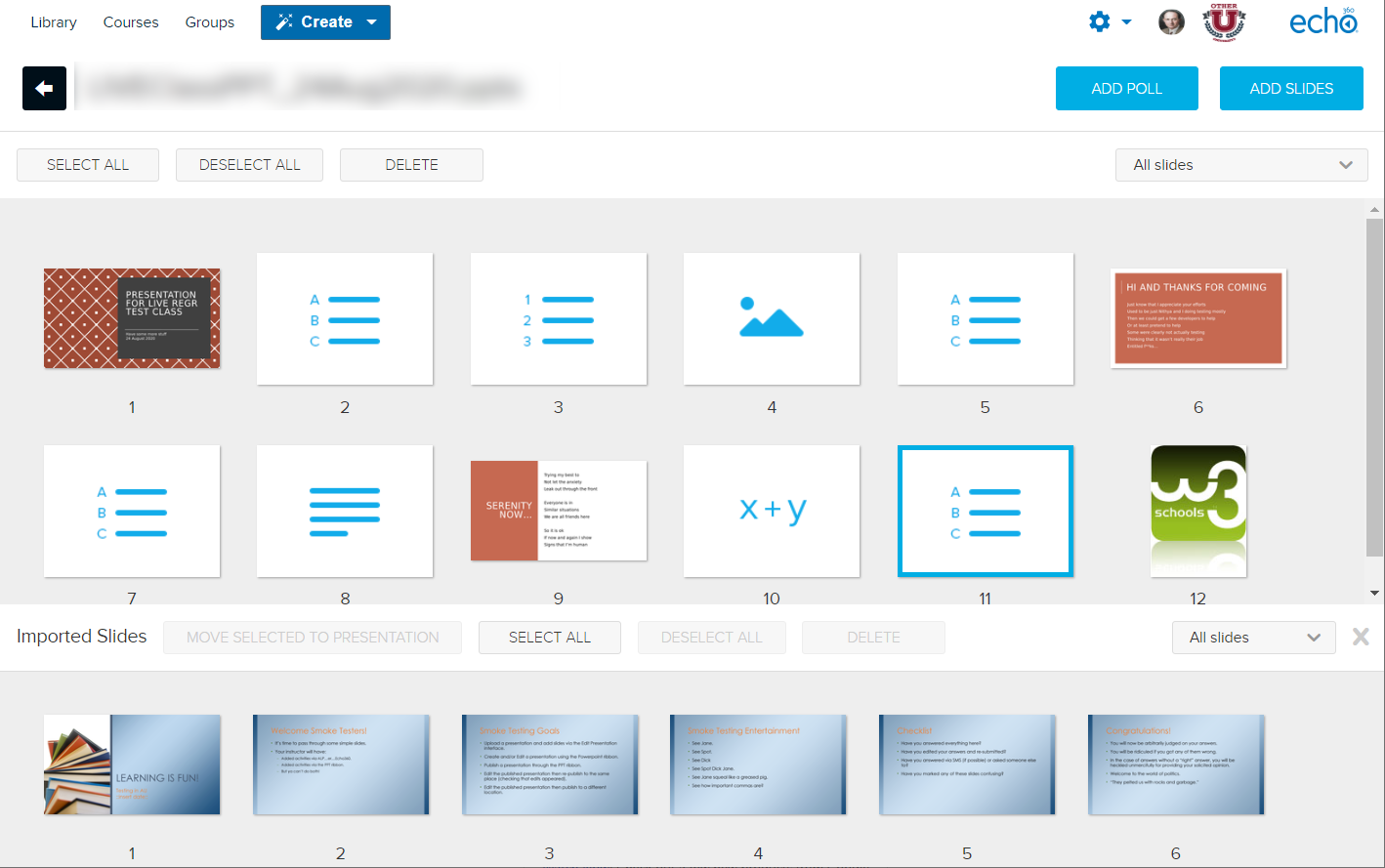 Edit presentation page with slides from the uploaded file shown across the bottom of the screen as described