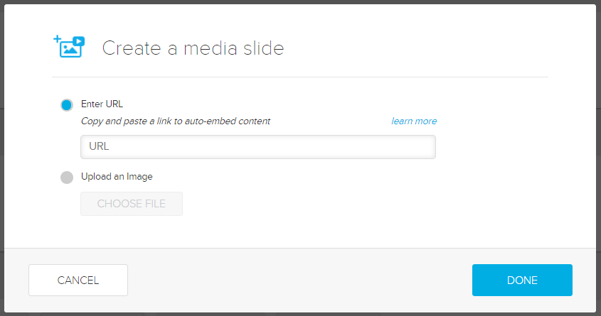 Create a media slide modal with URL field for pasting copied video link as described