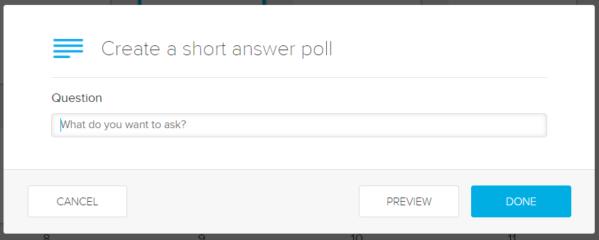 create short answer poll form with question field for completion as described