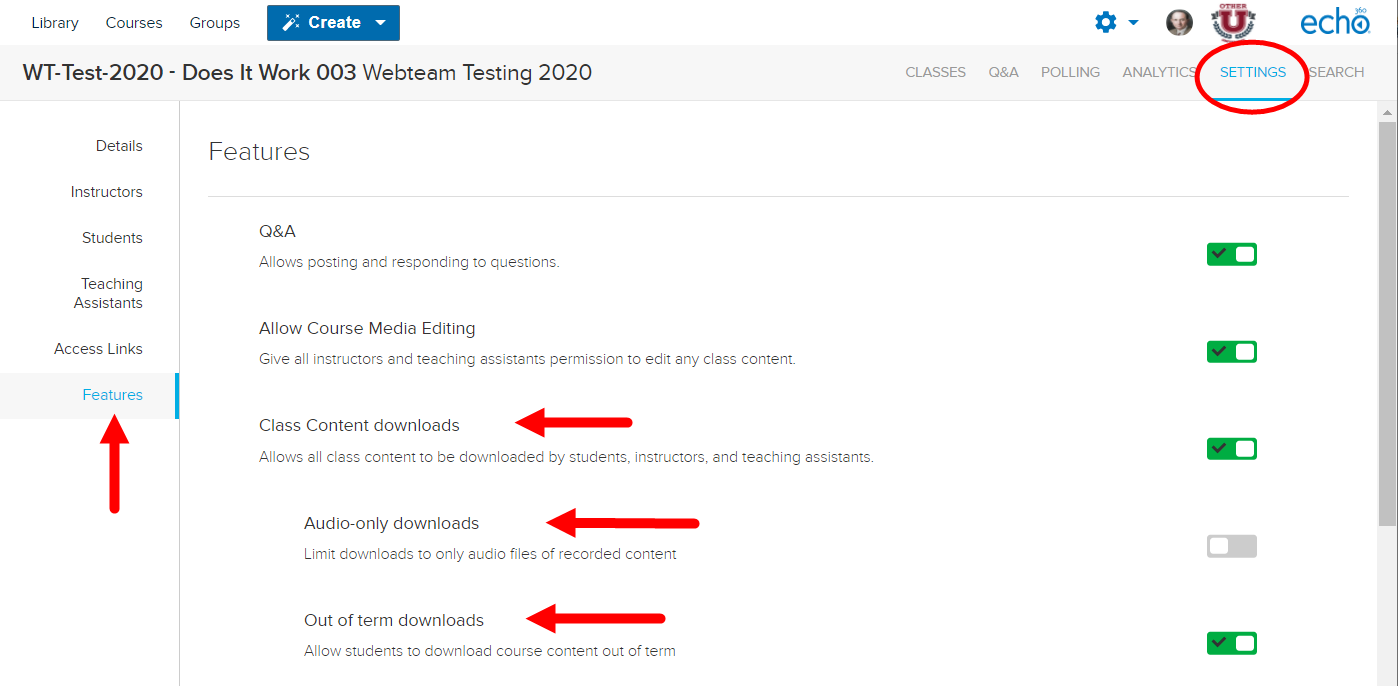 Section Settings Features with content download options identified for steps as described