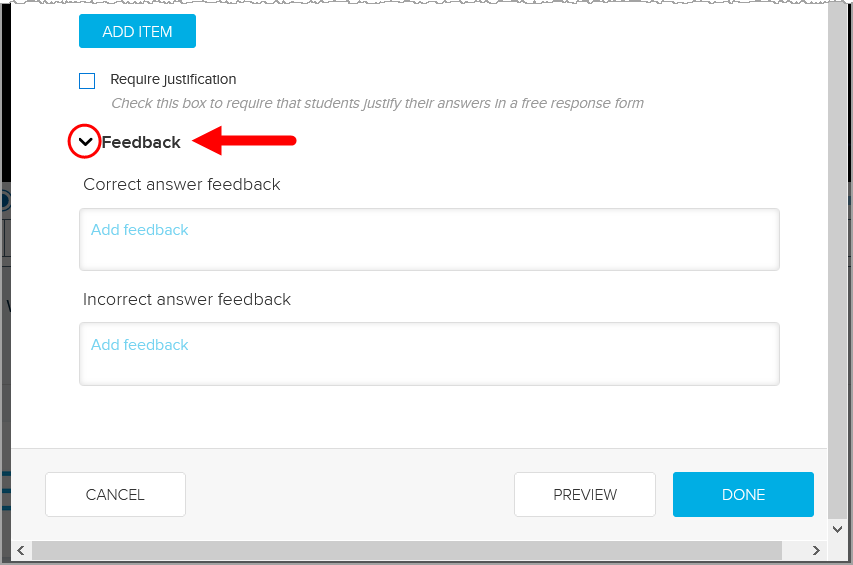 Feedback area of ordered list poll with correct and incorrect feedback fields shown as described