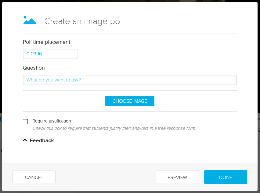 Create an Image Poll dialog box with fields and options for steps as described