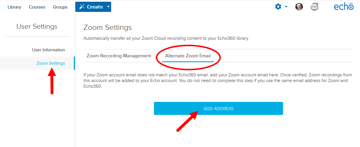 Account settings with Zoom settings page selected and Alternate Zoom Email tab open with options as described