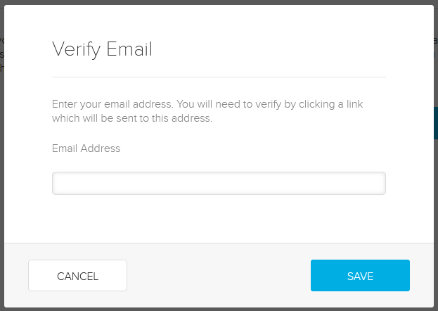 Verify alternate email address popup with email field for entry as described