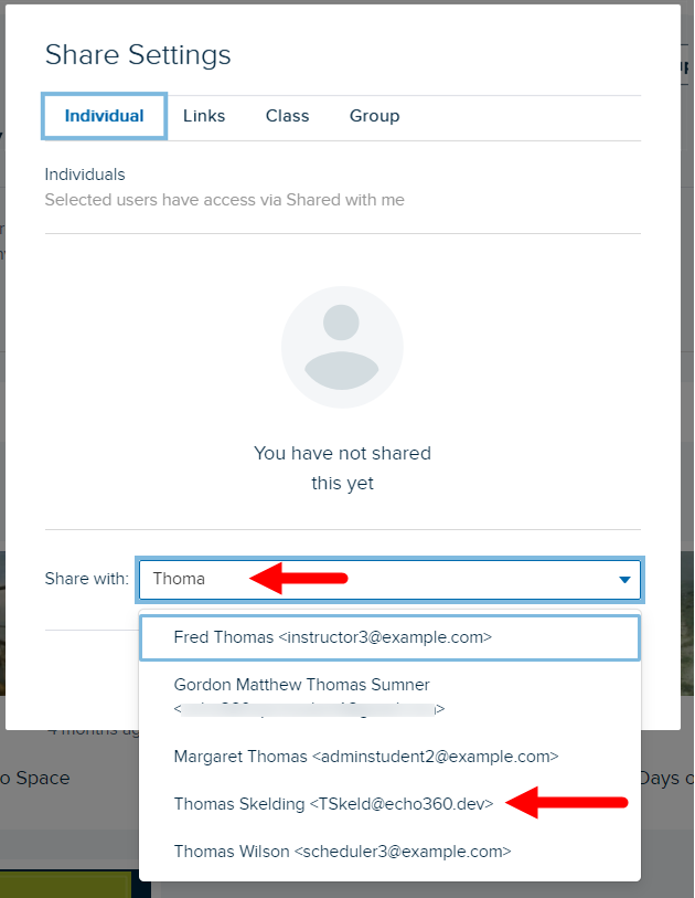 Share from groups dialog box with Individual share tab shown and Share with type-ahead drop-down list identified for steps as described