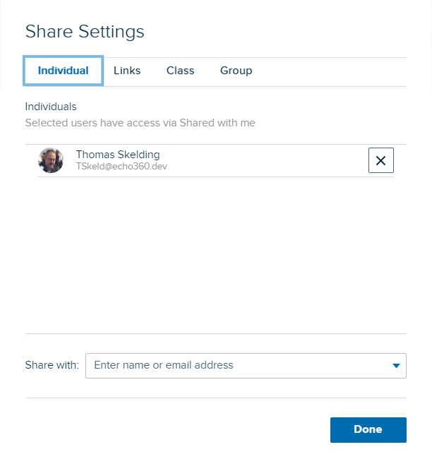 Share from groups dialog box with Individual user share listed after selection